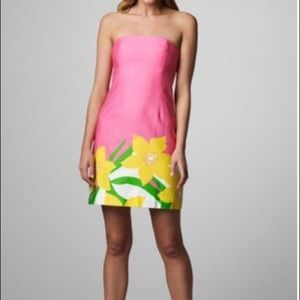 LILLY PULITZER: Pink with jonquils strapless dress